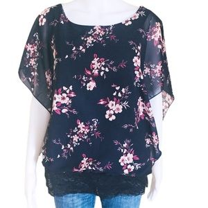 WAREHOUSE ONE Floral Lace Trim Blouse/Top Navy M